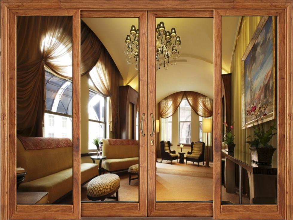 Cửa nhôm 4 cánh hệ 1000 màu vân gỗ đẹp hút hồn
