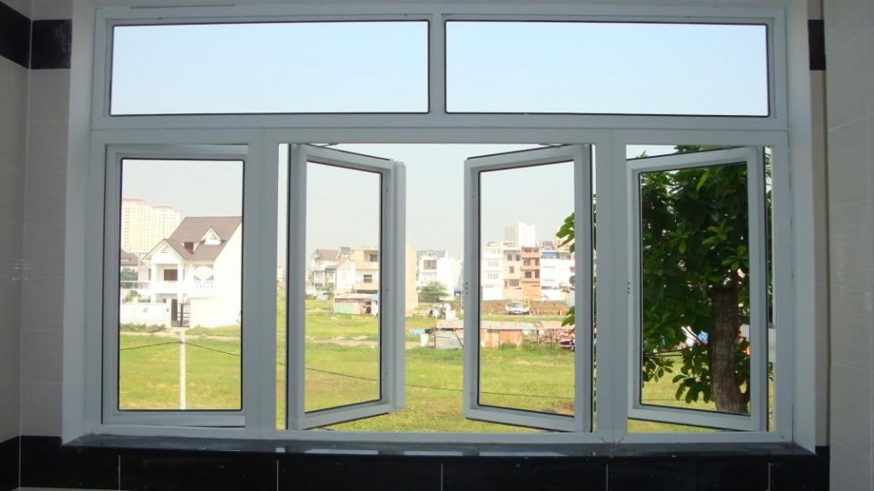 mẫu cửa nhựa lõi thép đẹp: cửa nhựa lõi thép 4 cánh mở quay